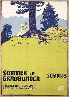 RARE Original 1900s Swiss Travel Poster CARDINAUX Griso