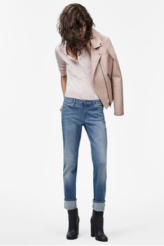Get the downtown look by styling a soft leather jacket with a pair of light wash denim from Calvin Klein Jeans.