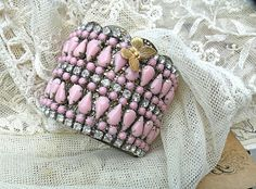 wide pink rhinestone cuff collage upcycle by lilyofthevally