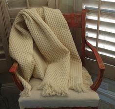 vintage Faribo wool blanket / cream wool throw by sowandgather