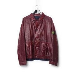 Stone Island SS 1988 Reversible Raso Gommato Red Cover Jacket