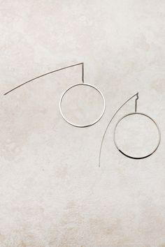 Silver Hoop Thread Earrings