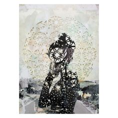 Girl Looks Back Collage, Paper Cut, Ink Dimensions: x inches Elise Wehle , holy cow! Her papercuts and collages are absolute. Art And Illustration, Font Design, 2d Design, Paper Artwork, Paper Collages, Photocollage, Thing 1, Conceptual Art, Paper Cutting