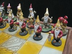 Hand crafted Gnome Chess set