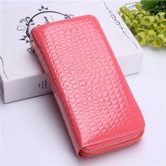 Women Crocodile Clutches Ladies Patent Leather Long Wallet Elegant Double Zipper Purse Card Holder Phone Bags