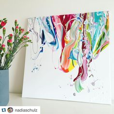 We love this beautiful work doing by @nadiaschulz ! With flowers this painting looks like spring time  And these colours are amazing  ! Thanks a lot for sharing with us ! #pebeo #pebeopaint #teampebeo #shareyourwork #pebeoacrylic #abstractart #abstractartist #abstractpainting #colours #spring #flowers #painting #paint