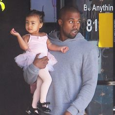"@teamkanyedaily's photo: ""Kanye and North leaving her dance class in Calabasas today."""
