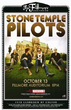 Concert poster for the Stone Temple Pilots at The Fillmore Auditorium in Denver, CO in 2009. 11 x 17 on card stock.