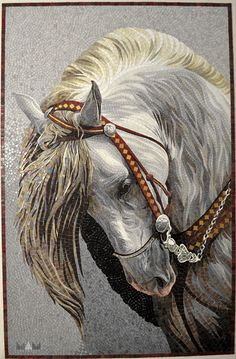 Andalusian horse made by Mosaico Arte e Mestieri, glass mosaic, Mosaic Diy, Mosaic Garden, Mosaic Crafts, Mosaic Projects, Mosaic Wall, Mosaic Glass, Mosaic Tiles, Mosaic Designs, Mosaic Patterns