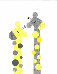 Yellow and Grey Giraffe Nursery Artwork Print by 3000yardsofthread