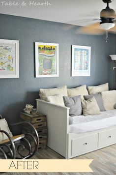 """The perfect dark navy/gray paint color, Sherwin-Williams' """"Outerspace"""", was used in this office makeover."""