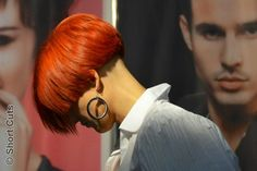 Striking short red bob with shaved undercut
