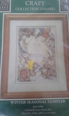 Counted Cross Stitch Kit Winter Seasonal Sampler by Craft Collection Limited #TheCraftCollectionLimited #Frame