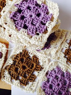 Granny squares (lilac and brown) 1