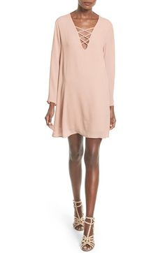 ASTR Lace-Up Bell Sleeve Shift Dress available at #Nordstrom