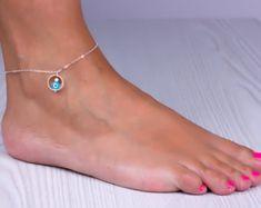 Anklet en argent sterling, bracelet de cheville de mauvais œil, chaîne de cheville de quelque chose de bleu, bonne chance, bracelet de cheville argent, bijoux de demoiselle d'honneur, « Megaera »