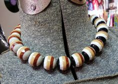 Vintage Necklace Chunky Beaded Choker Made in West Germany Striped Faceted Balls 40's 50's Mid Century Fashion Jewelry by OffbeatAvenue on Etsy