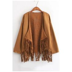 Laser Cutwork Tassel Patchwork Suede Batwing Cape (260 ARS) ❤ liked on Polyvore featuring outerwear, beautifulhalo, brown cape and cape coat