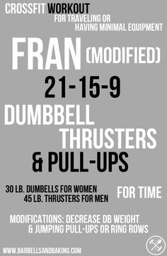 CrossFit Workouts for Traveling or Having Minimal Equipment | Fran (Modified) - Dumbbell Thrusters & Pull-ups | www.barbellsandbaking.com