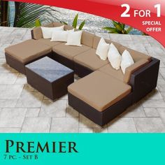 """Premier Outdoor Wicker 7 Piece Patio Set Taupe Covers -07B by TK Classics. $1499.00. Fully Assembled - ready to relax and enjoy. """"No Sag"""" solid wicker bottoms with extra flexible strapping providing long-lasting suspension. 4"""" Welted cushions for a luxurious look and feel. Versatile design for ANY patio size. Affordable and comfortable Modular Furniture allows for endless arrangement possibilities. 2 for 1 Special: Purchase 1 of our Classic Patio Sets and receive a 2nd set of cus..."""
