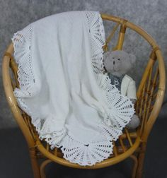 Hand made knit and crochet baby blanket