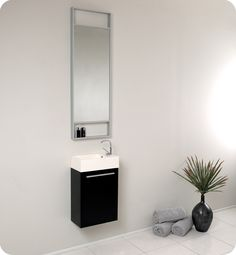 "15.5"" Pulito Single Bath Vanity - Black - Save space w/ storage for small bathrooms. Sleek floating design & dark color w/ integrated sink top & single hole faucet"