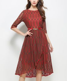 Love this Coeur de Vague Red Lace Belted Tulip A-Line Dress by Coeur de Vague on #zulily! #zulilyfinds