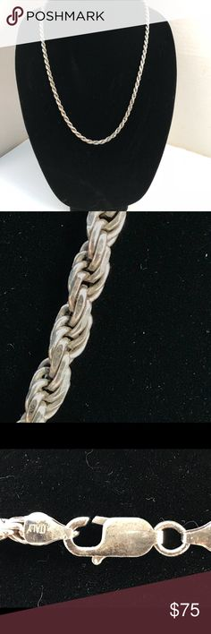 """Sterling Silver French Rope Chain 24"""" This is an elegant Italian Sterling Silver French Rope Chain, diamond cut 6mm, that can be worn anywhere, from a formal affair to a night on the town. The very classic style and great craftmanship holds its beauty throughout the ages as it accentuates yours. It has a nice heavy weight at 1.5 ounces of sterling silver, a lobster claw closure, & it measures 24"""" end to end. Vintage Jewelry Necklaces"""