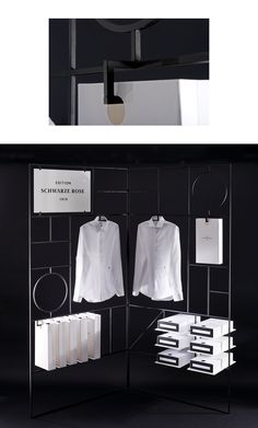 We developed a unique packaging idea, that was both shoppig bag and box, consequtively numbered labels and a shirt garniture made out of black fine paper for this edition that is dominated by the clean look and its only colours black and white. In addition to that, we designed metallic, modular paravents for the windows of their shops. #paperlux #seidensticker #black #rose