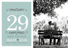 Different colors but I like the save the date idea! 2 B&W stacked pictures. then & now. Logo. 50 logo.   Back: where will you be?  50th Gala.  Date. place.