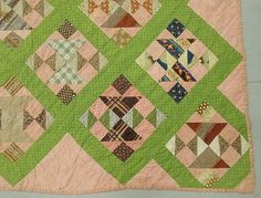 """Detail, Large pieced quilt in a green Tumbling Block pattern, 8'6""""x8', Wiederseim Associates, Inc., Live Auctioneers"""