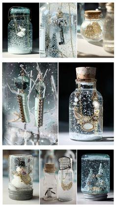 brilliant idea! personalized snow globes in a pretty jar♥