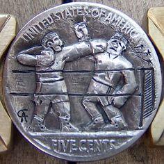 ALAN CHERNOMASHENTSEV HOBO NICKEL - THE KNOCKOUT - BUFFALO NICKEL REVERSE CARVING Hobo Nickel, Coin Art, Guided Meditation, Metal Art, Coins, Carving, Buffalo, Money, Sports