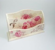 CHRISTMAS SALE Romantic letter holder desk organizer gift idea roses shabby chic beautiful pink gift idea for her