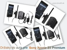 Nové držiaky do auta pre Sony Xperia Z5 Premium. Pasívny držiak Brodit pre pevnú montáž v aute, aktívny s CL nabíjačkou, s USB alebo s Molex konektorom.