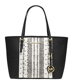 Got to have this, for FALL. MICHAEL Michael Kors Jet Set Travel Black and White SnakePrint Small Tote #Dillards