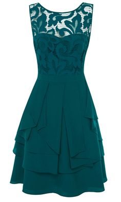 Sweetheart neckline with lace overlay and layered ruffles. Gorgeous teal color.