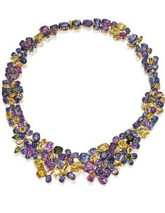 18 Karat Gold, Multi-Colored Sapphire and Diamond Necklace | Lot | Sotheby's