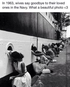 Women saying goodbye to their Navy husbands