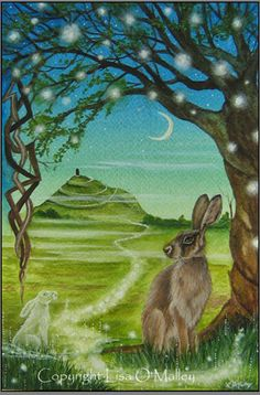 "Hare Print "" Spirit Path to Avalon"" Glastonbury Tor. John Tenniel, Lapin Art, Mists Of Avalon, Glastonbury Tor, Rabbit Art, Rabbit Crafts, Wicca, Hamster, Bunny Art"