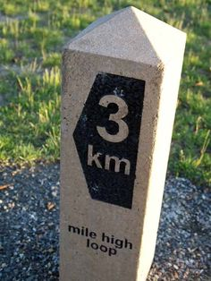 Mile and distance markers along trails