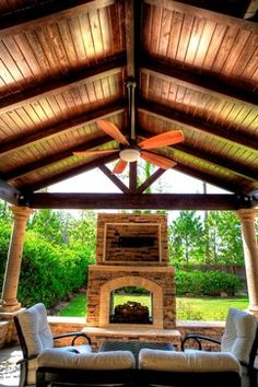 Outdoor See Through Fireplace Design Ideas, Pictures, Remodel and Decor