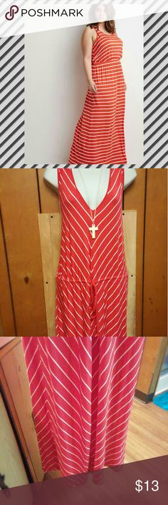 Super comfy red Chevron dress No flaws,  only worn once,  one of the most comfy dresses I've ever owned but I'm losing weight so it's time to go!  True to size Dresses Maxi
