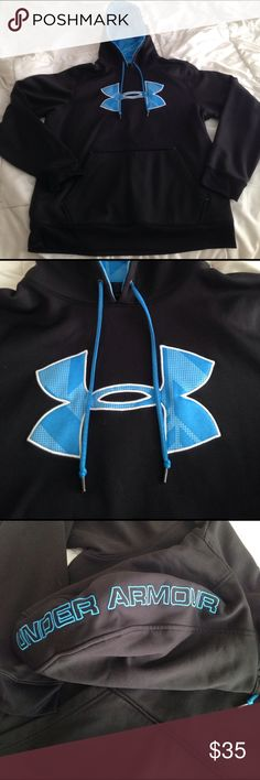 Under Armour Hoodie Black hoodie with blue designs from Under Armour. It is in excellent condition and has only been worn a few times. Under Armour Jackets & Coats