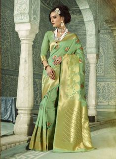 Pista Green party wear saree  https://www.gravity-fashion.com/stylish-elegant-party-wear-art-silk-pista-green-sadi-b18028.html