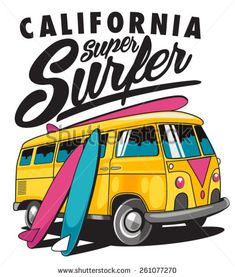 Find Vector Surf Bus stock images in HD and millions of other royalty-free stock photos, illustrations and vectors in the Shutterstock collection. Vw Bus, Volkswagen, Surf Vintage, Bus Cartoon, Hippie Art, Surfs Up, Logo Design Inspiration, Vintage Posters, Typography