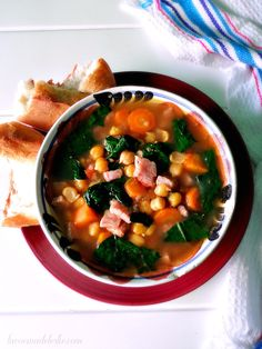 Mexican Chickpea Soup, made with dried chickpeas. Mexican Food Recipes, Soup Recipes, Ethnic Recipes, Smoked Pork Chops, Native Foods, Pork Soup, Chickpea Soup, Dried Beans, Soups And Stews
