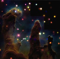 Located in the Eagle Nebula, E42 is thought to be a very early embryo of a star much like Earth's Sun.