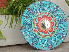 Gold Starburst Mirror, Round Wall Mirror, Ceramic Painting, Painting On Wood, Painted Pots, Boho Diy, Mandala Coloring, Mandala Art, Folk Art