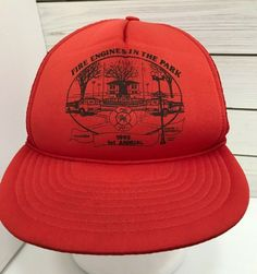 ef676dbe683 Vintage 1992 Fire Engine In The Park Red Trucker Mesh Hat Snap Back Flat  Bill